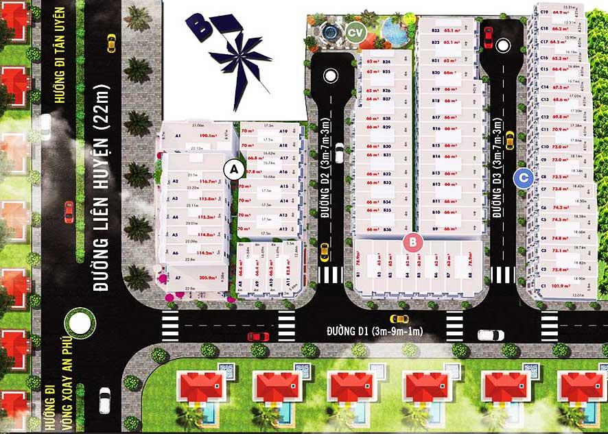 Mặt bằng tổng thể khu dân cư Hoàng Nam 5