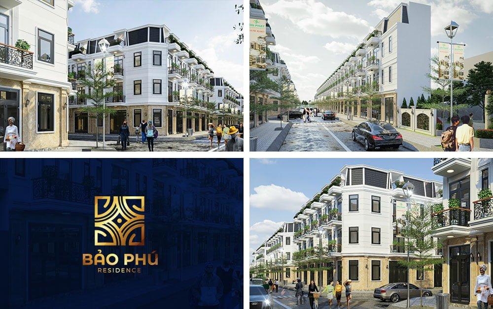 Phối cảnh các dãy nhà phố Bảo Phú