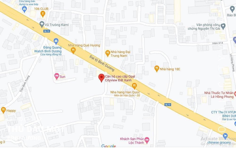 Vị trí dự án Opal Cityview - Đất Xanh Group